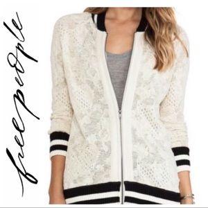 💕SALE💕 Free People Ivory Lace Varsity Cardigan
